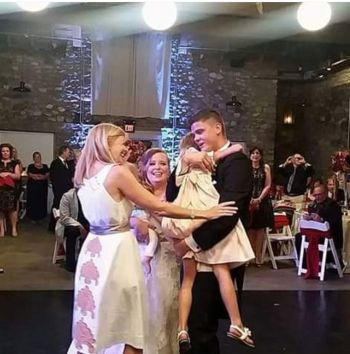 Tyler dances with Carly during his wedding.