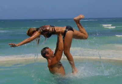Love means...always having someone to do gimpy water ballet with....