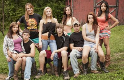 Cara (second from right) is shown with the 'Buckwild' cast in 2013.