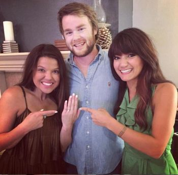 Amy and Dillon showed off Amy's engagement ring to Christie Bates.