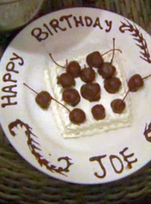 The downside is that he had to make his own cake. The upside is that he has good penmanship.