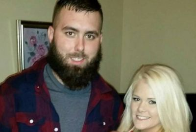 Corey, his wife Miranda (and his beard) in December 2015.