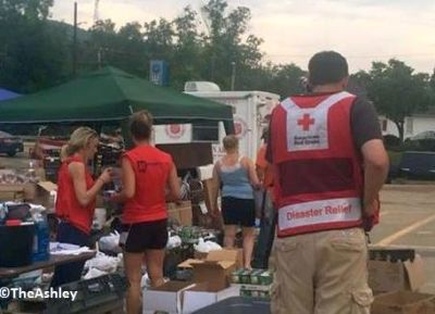 Leah (far left) has been working with the Red Cross.