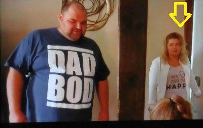 "Judging by her facial expression, Amber does not see the humor in Gary's amazing ""Dad Bod"" tee."